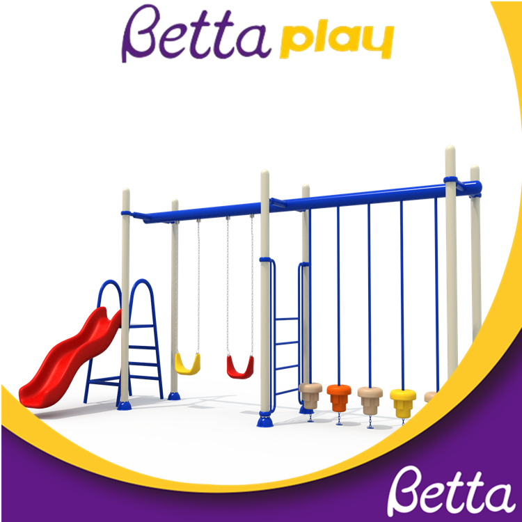 Factory supply attractive price swing set outdoor double swing chair and slide play set