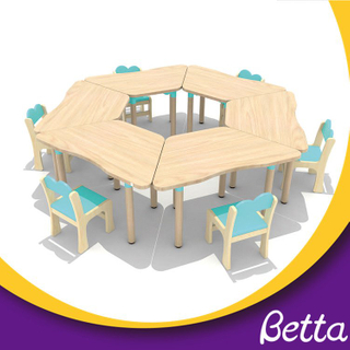 Colorful kindergarten classroom furniture wooden dining table set